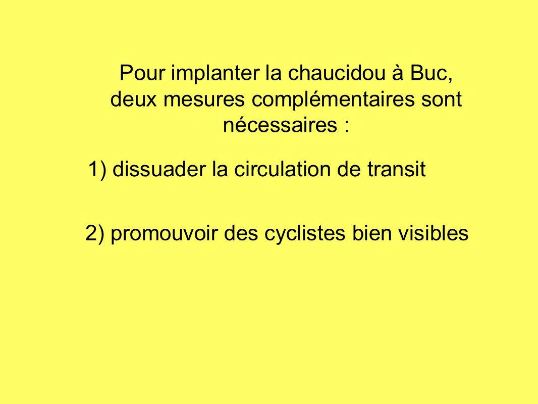 Pour implanter la chaucidou à Buc, deux mesures complémentaires sont nécessaires : 1) dissuader la circulation de transit 2) promouvoir des cyclistes