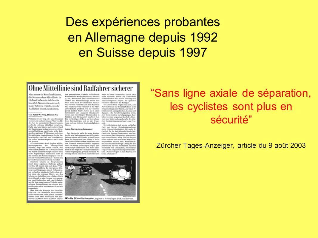 Sans ligne axiale de séparation, les cyclistes sont plus en sécurité Zürcher Tages-Anzeiger, article du 9 août 2003 Des expériences probantes en Allem