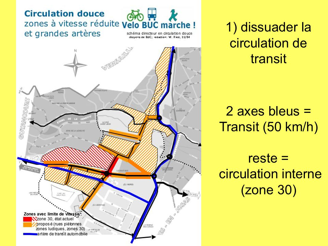 1) dissuader la circulation de transit 2 axes bleus = Transit (50 km/h) reste = circulation interne (zone 30)