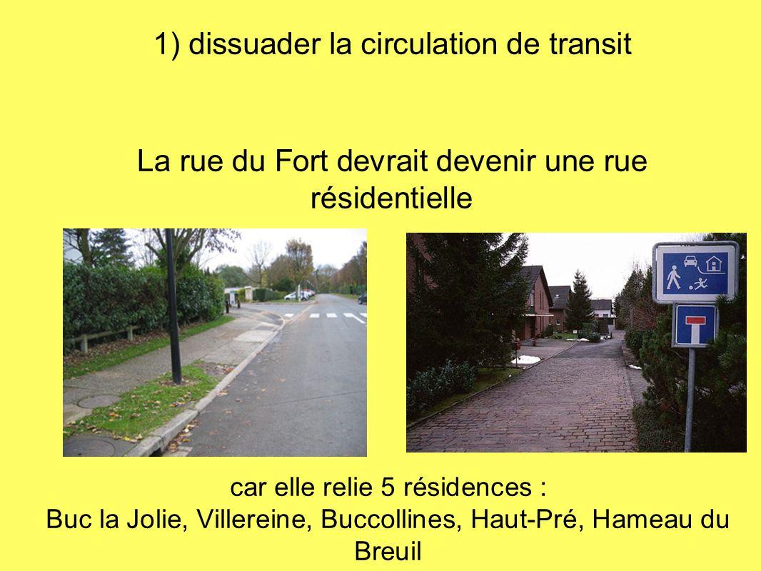1) dissuader la circulation de transit La rue du Fort devrait devenir une rue résidentielle car elle relie 5 résidences : Buc la Jolie, Villereine, Bu