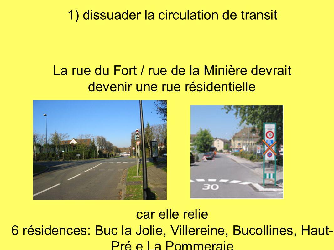 1) dissuader la circulation de transit La rue du Fort / rue de la Minière devrait devenir une rue résidentielle car elle relie 6 résidences: Buc la Jo