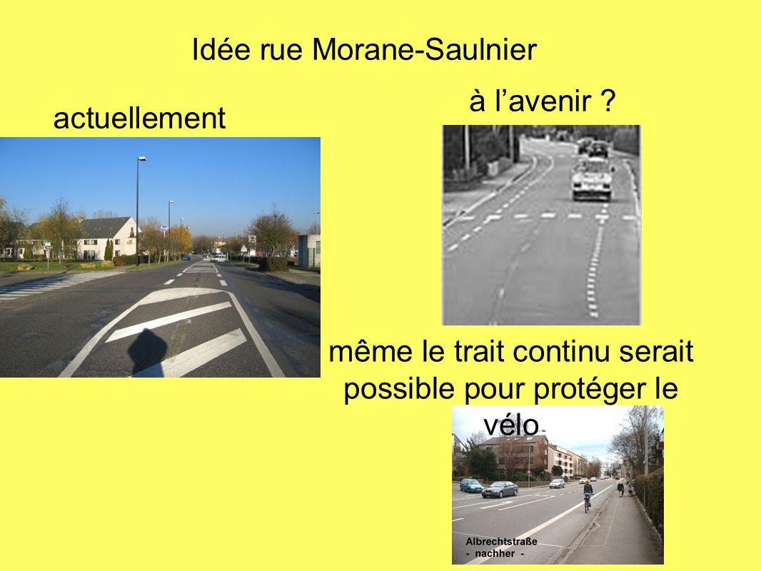 actuellement à lavenir ? Idée rue Morane-Saulnier même le trait continu serait possible pour protéger le vélo