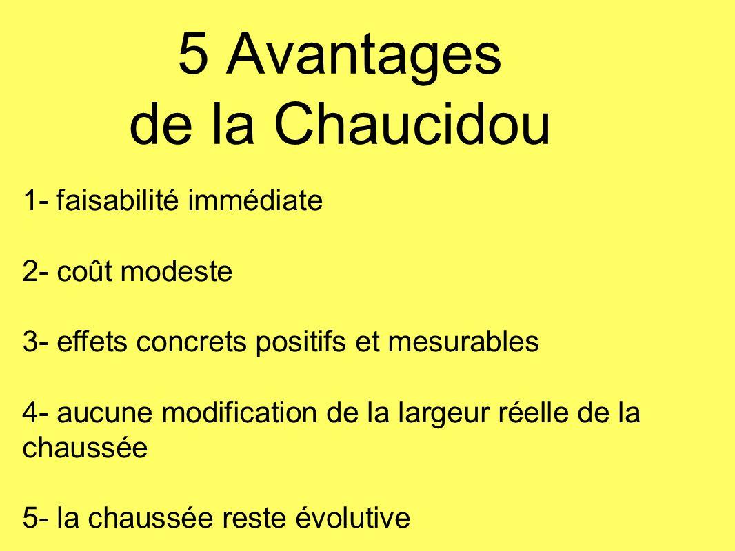 5 Avantages de la Chaucidou 1- faisabilité immédiate 2- coût modeste 3- effets concrets positifs et mesurables 4- aucune modification de la largeur ré