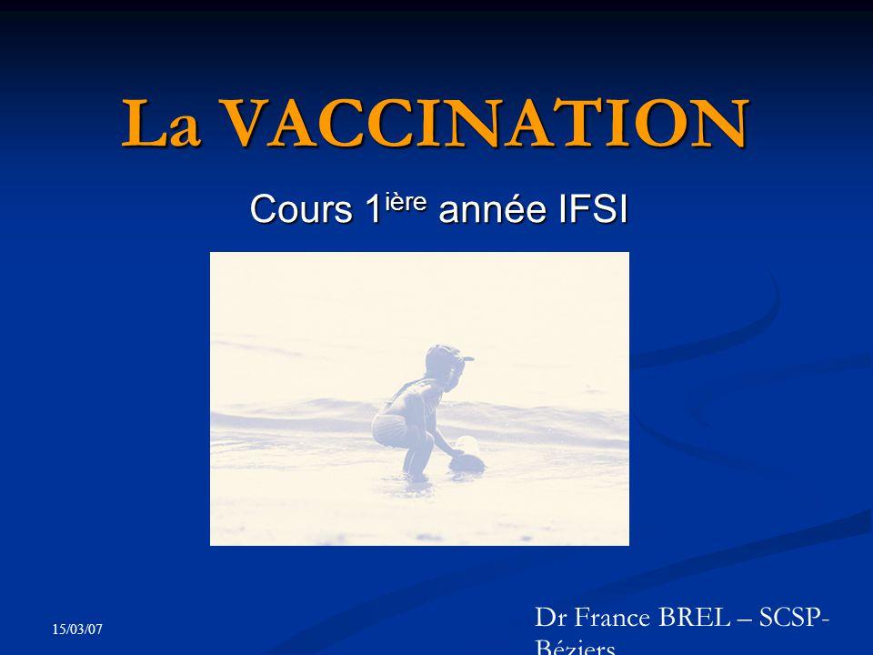 15/03/07 La VACCINATION Cours 1 ière année IFSI Dr France BREL – SCSP- Béziers