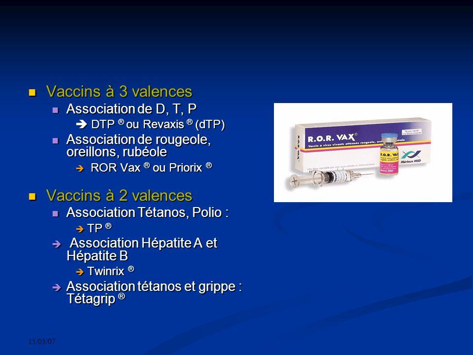 15/03/07 Vaccins à 3 valences Vaccins à 3 valences Association de D, T, P Association de D, T, P DTP ® ou Revaxis ® (dTP) DTP ® ou Revaxis ® (dTP) Ass