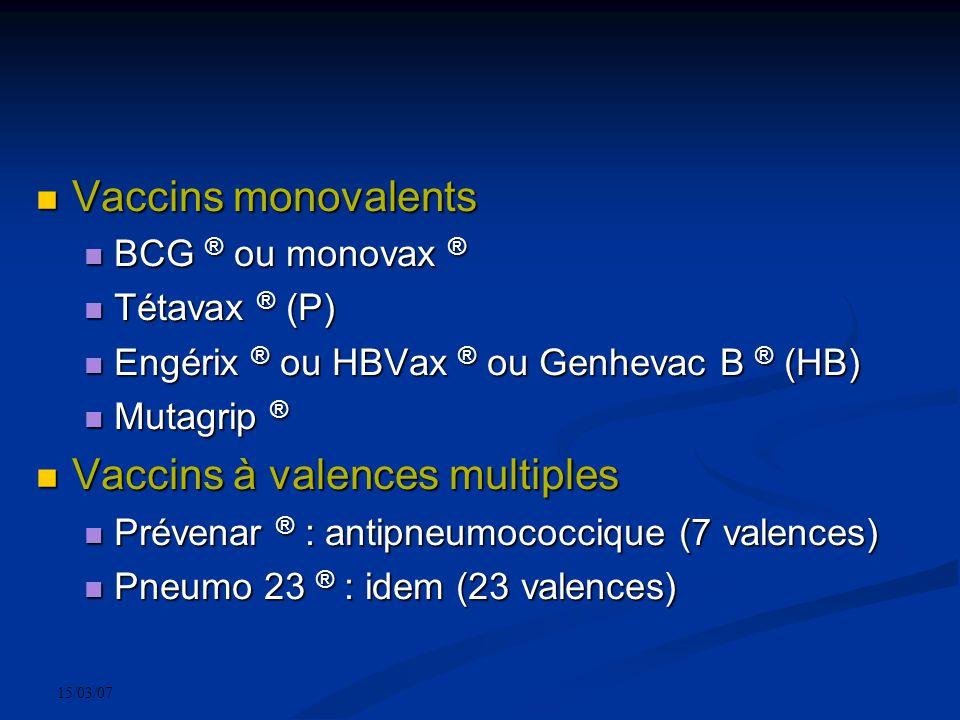 15/03/07 Vaccins monovalents Vaccins monovalents BCG ® ou monovax ® BCG ® ou monovax ® Tétavax ® (P) Tétavax ® (P) Engérix ® ou HBVax ® ou Genhevac B ® (HB) Engérix ® ou HBVax ® ou Genhevac B ® (HB) Mutagrip ® Mutagrip ® Vaccins à valences multiples Vaccins à valences multiples Prévenar ® : antipneumococcique (7 valences) Prévenar ® : antipneumococcique (7 valences) Pneumo 23 ® : idem (23 valences) Pneumo 23 ® : idem (23 valences)