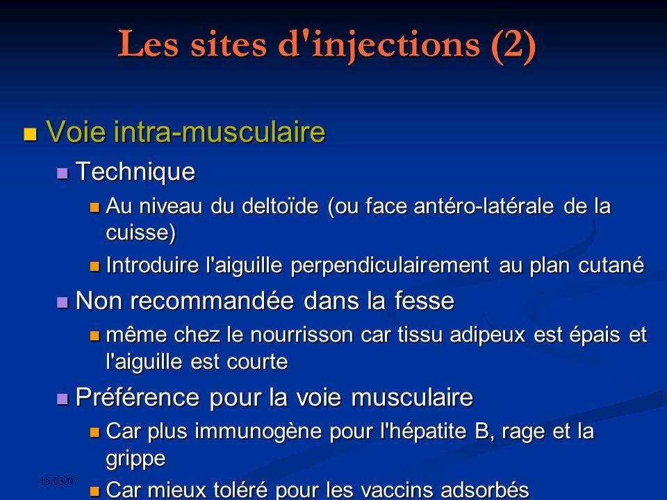 15/03/07 Les sites d'injections (2) Voie intra-musculaire Voie intra-musculaire Technique Technique Au niveau du deltoïde (ou face antéro-latérale de