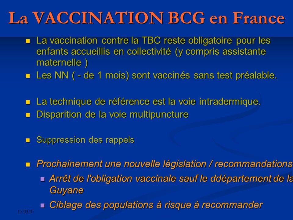 15/03/07 La VACCINATION BCG en France La vaccination contre la TBC reste obligatoire pour les enfants accueillis en collectivité (y compris assistante maternelle ) La vaccination contre la TBC reste obligatoire pour les enfants accueillis en collectivité (y compris assistante maternelle ) Les NN ( - de 1 mois) sont vaccinés sans test préalable.