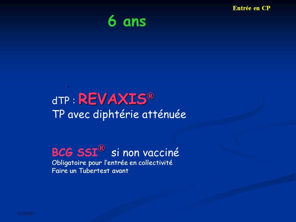 15/03/07. REVAXIS ® dTP : REVAXIS ® TP avec diphtérie atténuée ® BCG SSI ® si non vacciné Obligatoire pour lentrée en collectivité Faire un Tubertest