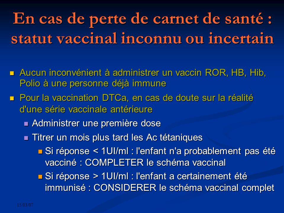 15/03/07 En cas de perte de carnet de santé : statut vaccinal inconnu ou incertain Aucun inconvénient à administrer un vaccin ROR, HB, Hib, Polio à une personne déjà immune Aucun inconvénient à administrer un vaccin ROR, HB, Hib, Polio à une personne déjà immune Pour la vaccination DTCa, en cas de doute sur la réalité d une série vaccinale antérieure Pour la vaccination DTCa, en cas de doute sur la réalité d une série vaccinale antérieure Administrer une première dose Administrer une première dose Titrer un mois plus tard les Ac tétaniques Titrer un mois plus tard les Ac tétaniques Si réponse < 1UI/ml : l enfant n a probablement pas été vacciné : COMPLETER le schéma vaccinal Si réponse < 1UI/ml : l enfant n a probablement pas été vacciné : COMPLETER le schéma vaccinal Si réponse > 1UI/ml : l enfant a certainement été immunisé : CONSIDERER le schéma vaccinal complet Si réponse > 1UI/ml : l enfant a certainement été immunisé : CONSIDERER le schéma vaccinal complet