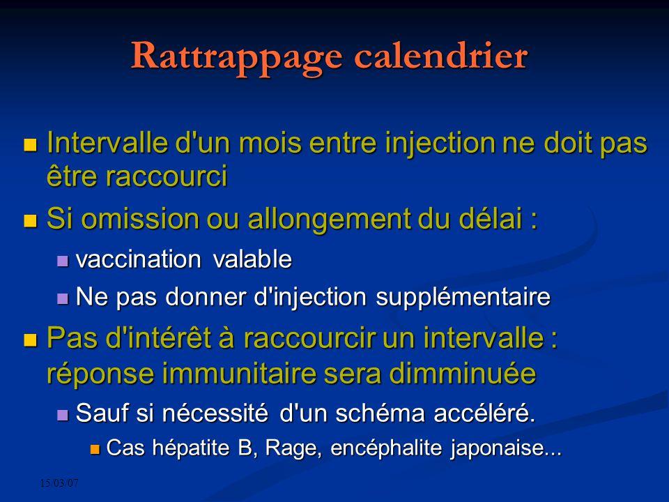 15/03/07 Rattrappage calendrier Intervalle d'un mois entre injection ne doit pas être raccourci Intervalle d'un mois entre injection ne doit pas être