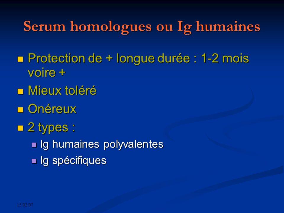 15/03/07 Serum homologues ou Ig humaines Protection de + longue durée : 1-2 mois voire + Protection de + longue durée : 1-2 mois voire + Mieux toléré