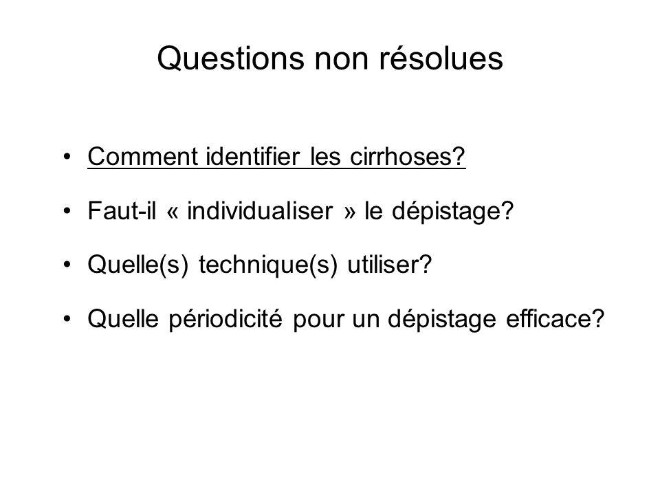 Questions non résolues Comment identifier les cirrhoses? Faut-il « individualiser » le dépistage? Quelle(s) technique(s) utiliser? Quelle périodicité