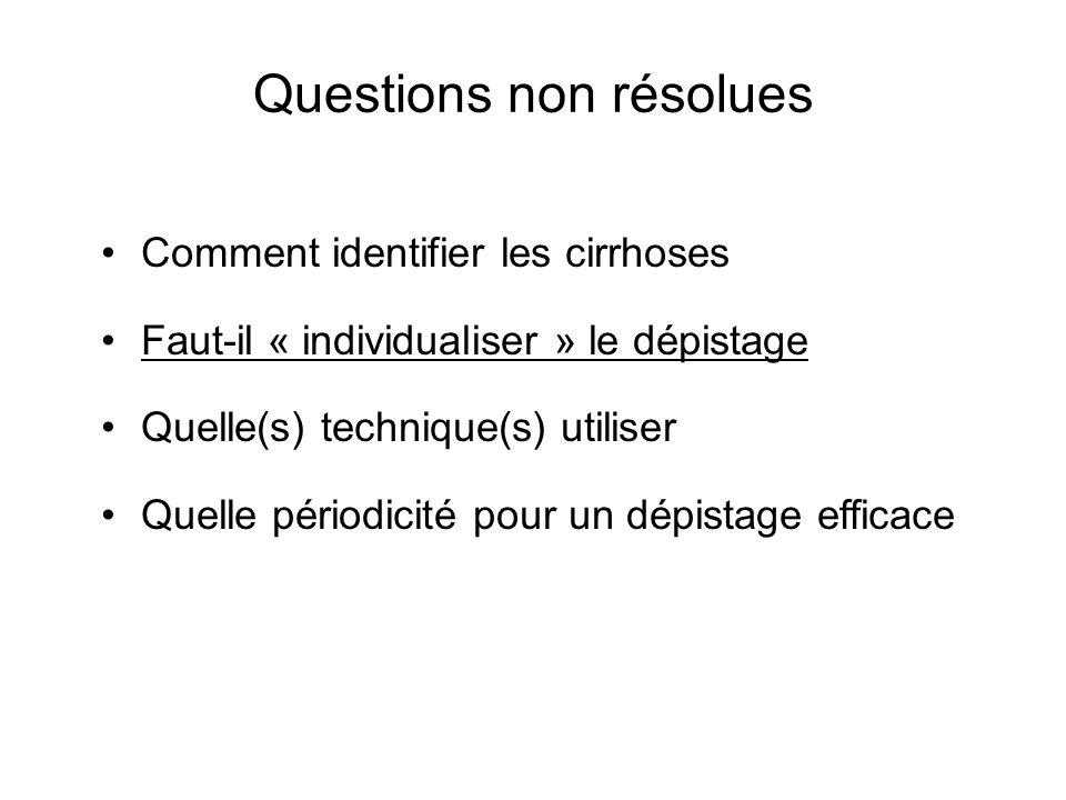 Questions non résolues Comment identifier les cirrhoses Faut-il « individualiser » le dépistage Quelle(s) technique(s) utiliser Quelle périodicité pou
