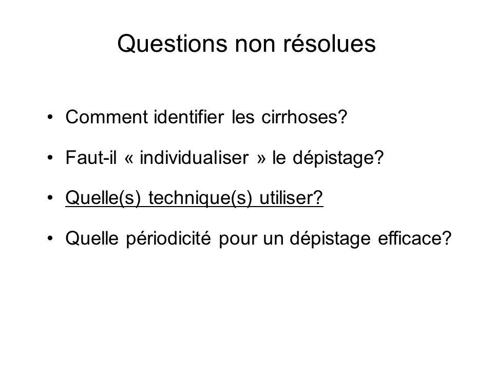 Questions non résolues Comment identifier les cirrhoses.