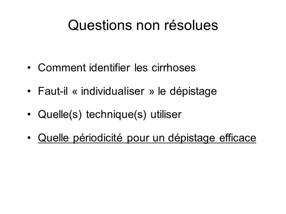 Questions non résolues Comment identifier les cirrhoses Faut-il « individualiser » le dépistage Quelle(s) technique(s) utiliser Quelle périodicité pour un dépistage efficace