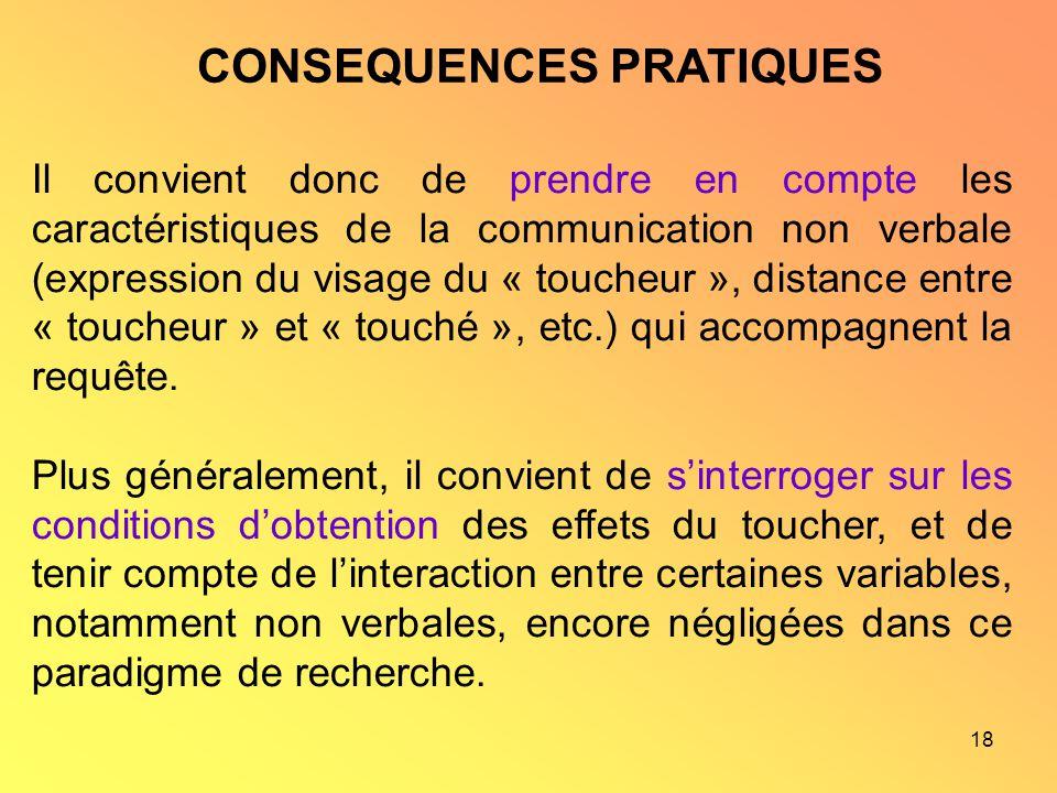 18 CONSEQUENCES PRATIQUES Il convient donc de prendre en compte les caractéristiques de la communication non verbale (expression du visage du « touche