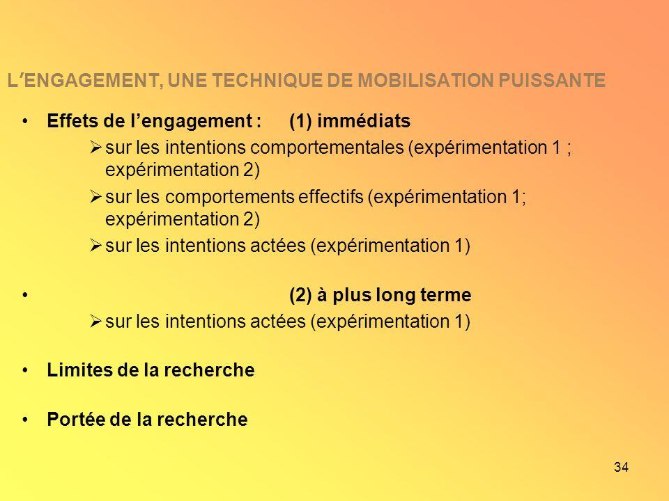 34 L ENGAGEMENT, UNE TECHNIQUE DE MOBILISATION PUISSANTE Effets de lengagement : (1) immédiats sur les intentions comportementales (expérimentation 1