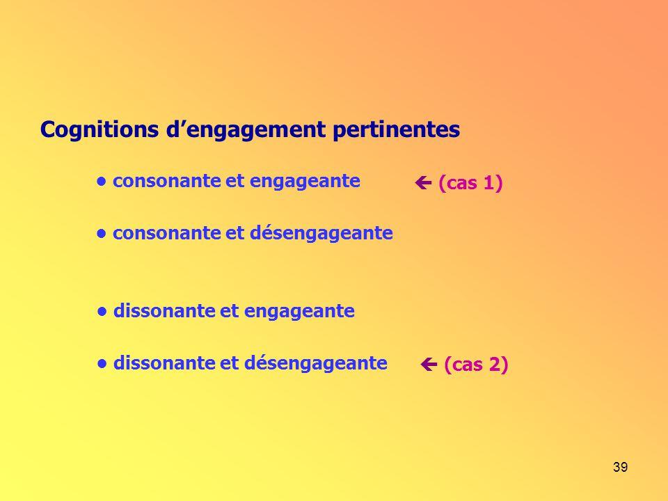 39 Cognitions dengagement pertinentes consonante et désengageante dissonante et engageante dissonante et désengageante consonante et engageante (cas 1