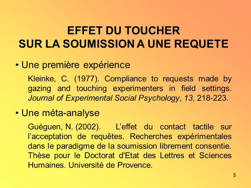 5 EFFET DU TOUCHER SUR LA SOUMISSION A UNE REQUETE Une première expérience Kleinke, C. (1977). Compliance to requests made by gazing and touching expe