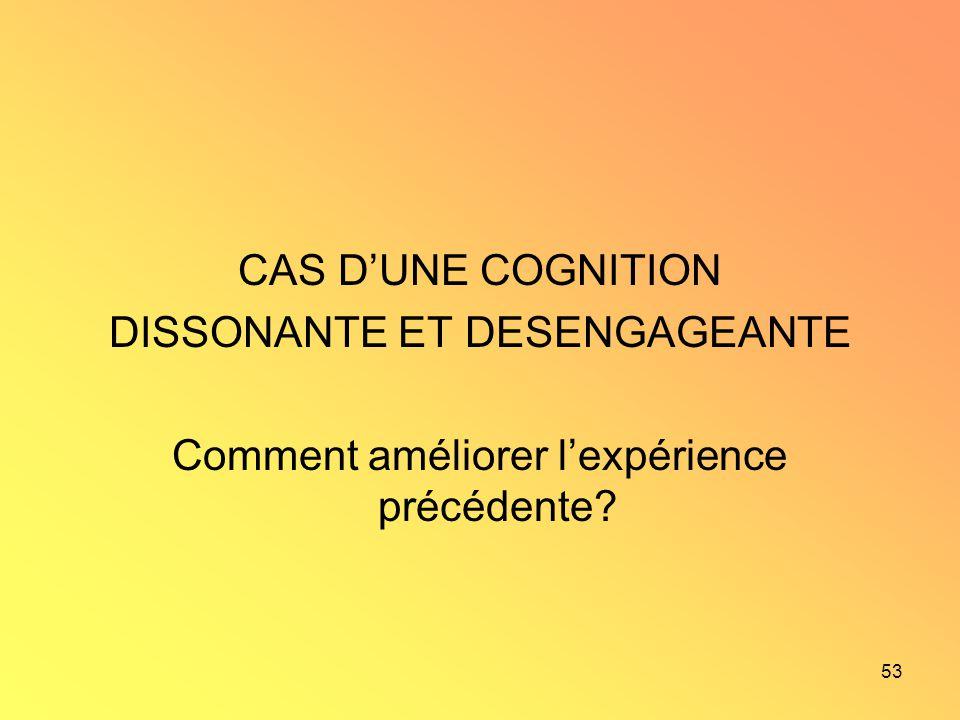 53 CAS DUNE COGNITION DISSONANTE ET DESENGAGEANTE Comment améliorer lexpérience précédente?