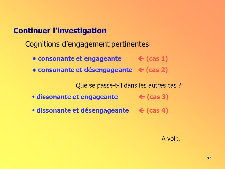 57 Continuer linvestigation Cognitions dengagement pertinentes dissonante et engageante (cas 3) dissonante et désengageante (cas 4) consonante et enga