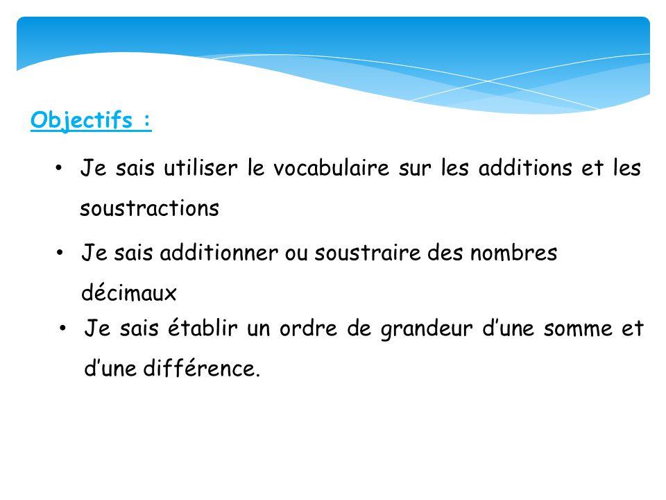 Objectifs : Je sais additionner ou soustraire des nombres décimaux Je sais établir un ordre de grandeur dune somme et dune différence.