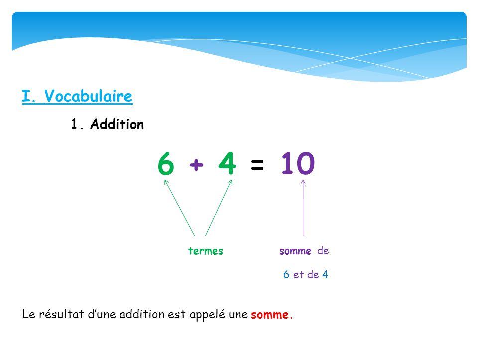 I. Vocabulaire 1. Addition 6 + 4 = 10 termes somme de 6 et de 4 Le résultat dune addition est appelé une somme.