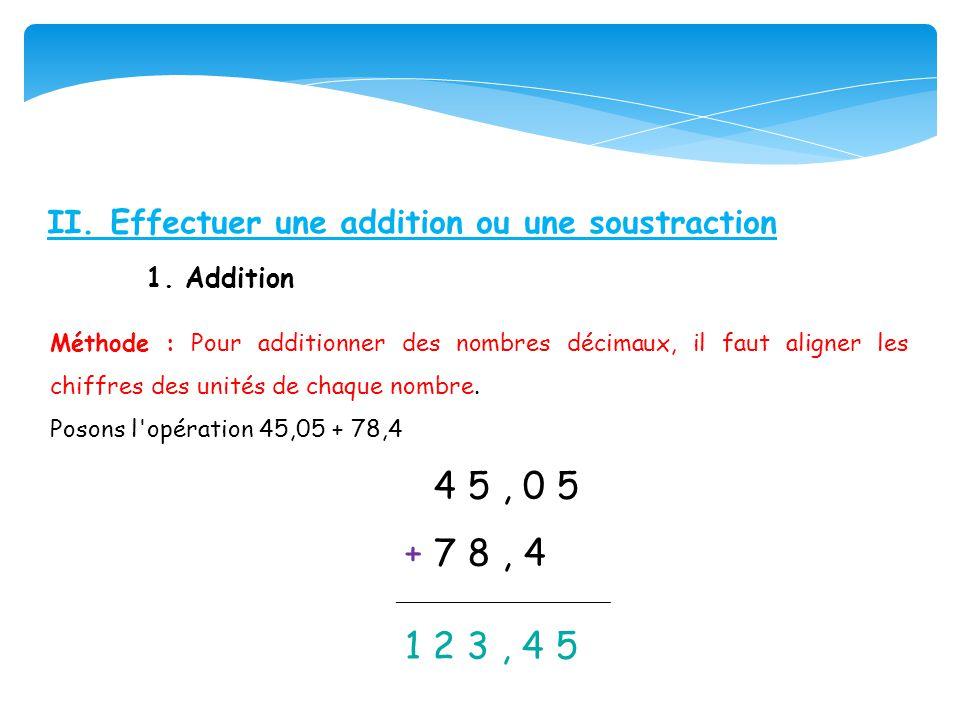 II. Effectuer une addition ou une soustraction 1. Addition Méthode : Pour additionner des nombres décimaux, il faut aligner les chiffres des unités de