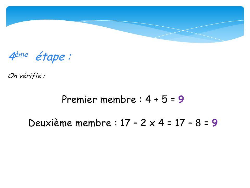 5 ème étape : On conclue : L équation admet une solution : 4