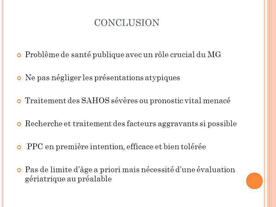 CONCLUSION Problème de santé publique avec un rôle crucial du MG Ne pas négliger les présentations atypiques Traitement des SAHOS sévères ou pronostic