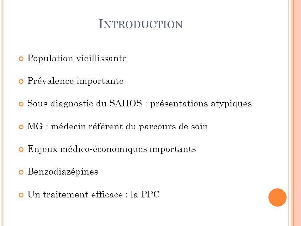 I NTRODUCTION Population vieillissante Prévalence importante Sous diagnostic du SAHOS : présentations atypiques MG : médecin référent du parcours de s