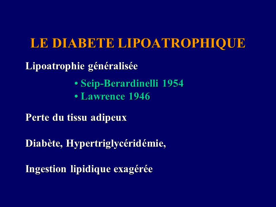 LE DIABETE LIPOATROPHIQUE Lipoatrophie généralisée Perte du tissu adipeux Diabète, Hypertriglycéridémie, Ingestion lipidique exagérée Seip-Berardinell