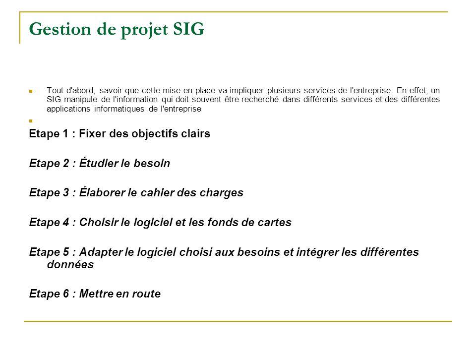 Gestion de projet SIG Tout d'abord, savoir que cette mise en place va impliquer plusieurs services de l'entreprise. En effet, un SIG manipule de l'inf