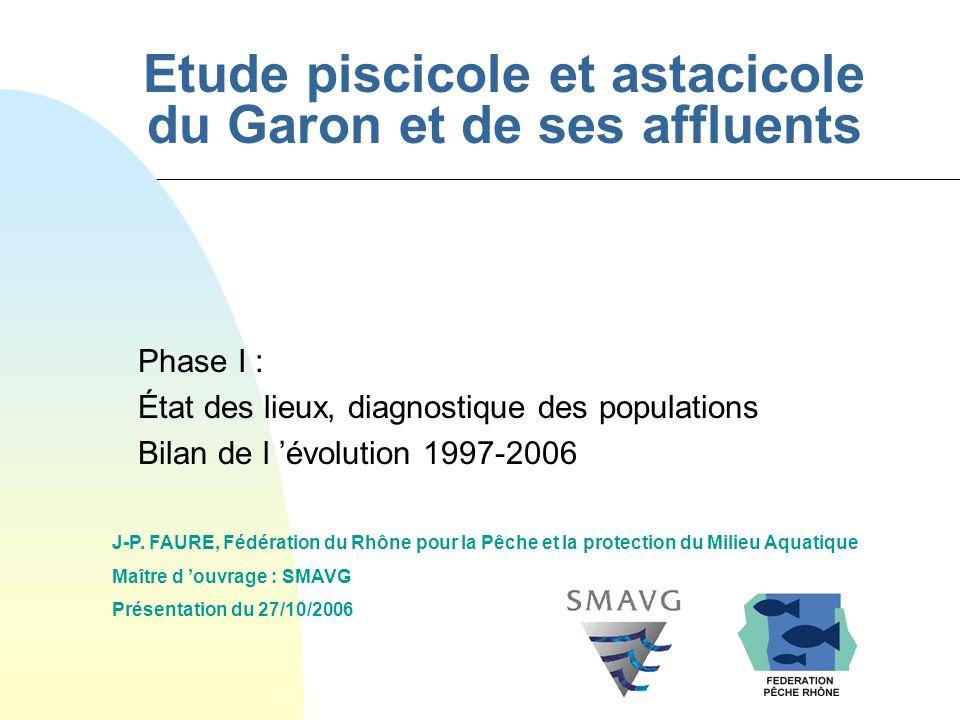 Etude piscicole et astacicole du Garon et de ses affluents Phase I : État des lieux, diagnostique des populations Bilan de l évolution 1997-2006 J-P.