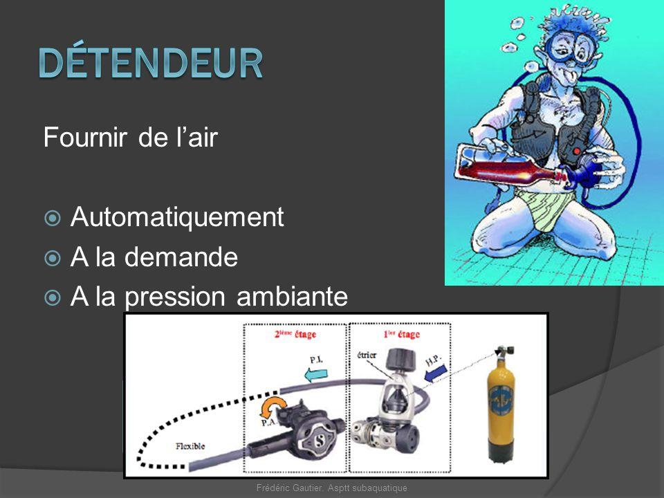 Fournir de lair Automatiquement A la demande A la pression ambiante Bloc HP 1 er Etage MP 2 ème Etage PA Frédéric Gautier. Asptt subaquatique