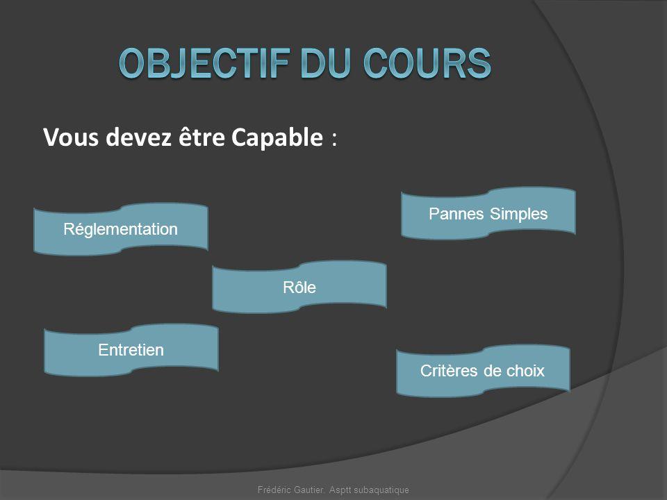 Vous devez être Capable : Entretien Pannes Simples Réglementation Rôle Critères de choix Frédéric Gautier. Asptt subaquatique