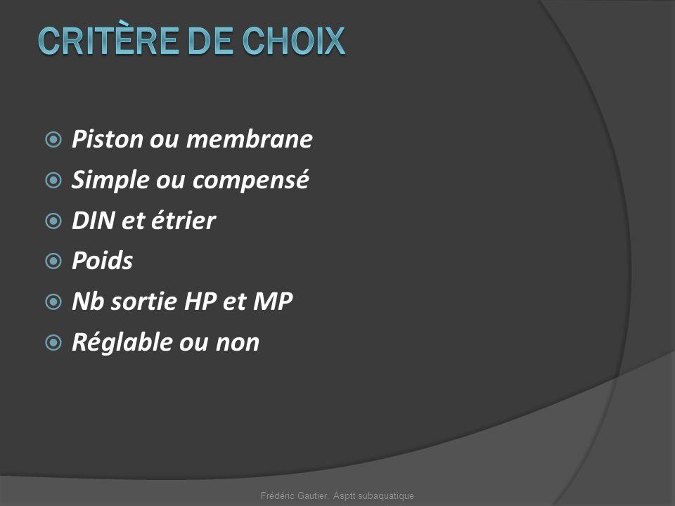 Piston ou membrane Simple ou compensé DIN et étrier Poids Nb sortie HP et MP Réglable ou non Frédéric Gautier. Asptt subaquatique