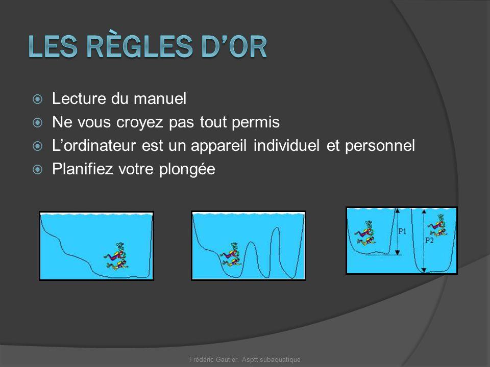 Lecture du manuel Ne vous croyez pas tout permis Lordinateur est un appareil individuel et personnel Planifiez votre plongée Frédéric Gautier. Asptt s