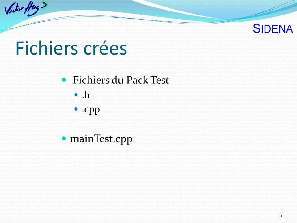 Fichiers crées 11 Fichiers du Pack Test.h.cpp mainTest.cpp