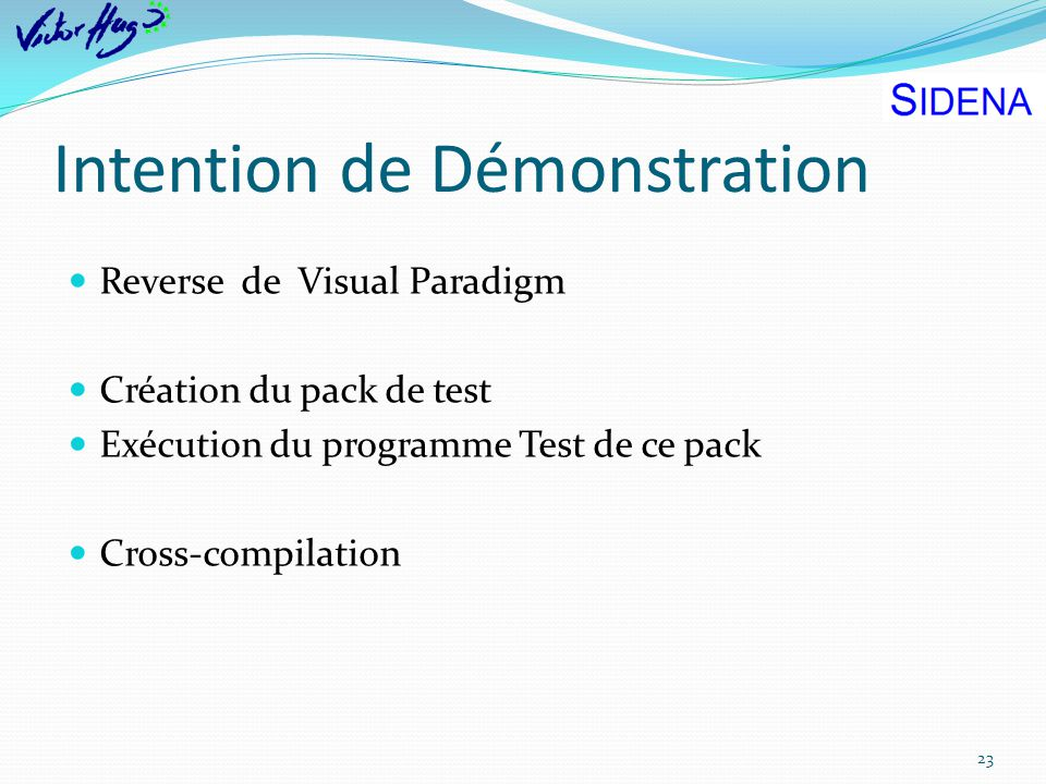 Intention de Démonstration 23 Reverse de Visual Paradigm Création du pack de test Exécution du programme Test de ce pack Cross-compilation