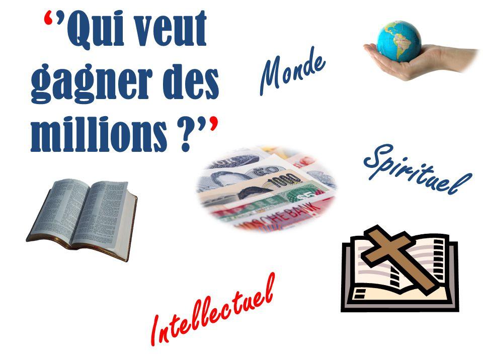 Qui veut gagner des millions ? Monde Spirituel Intellectuel