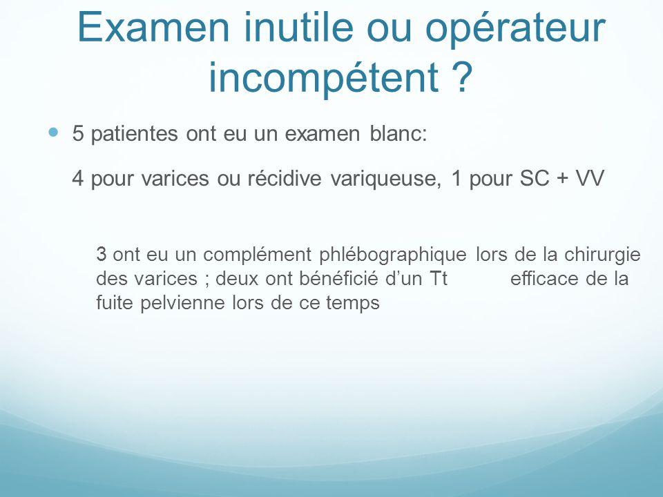 5 patientes ont eu un examen blanc: 4 pour varices ou récidive variqueuse, 1 pour SC + VV 3 ont eu un complément phlébographique lors de la chirurgie