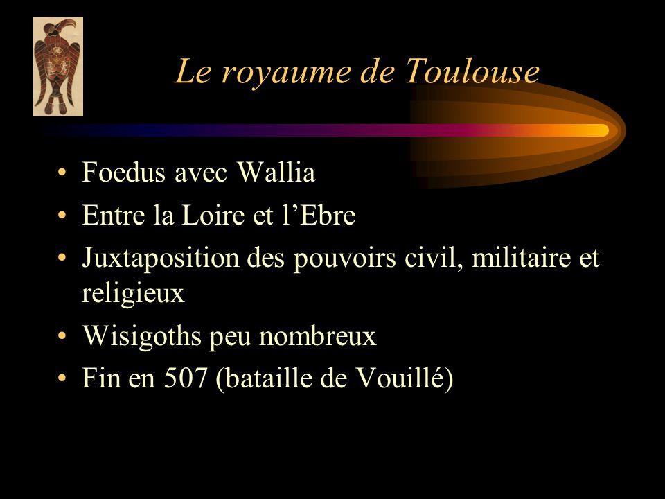 Le royaume de Toulouse Foedus avec Wallia Entre la Loire et lEbre Juxtaposition des pouvoirs civil, militaire et religieux Wisigoths peu nombreux Fin en 507 (bataille de Vouillé)