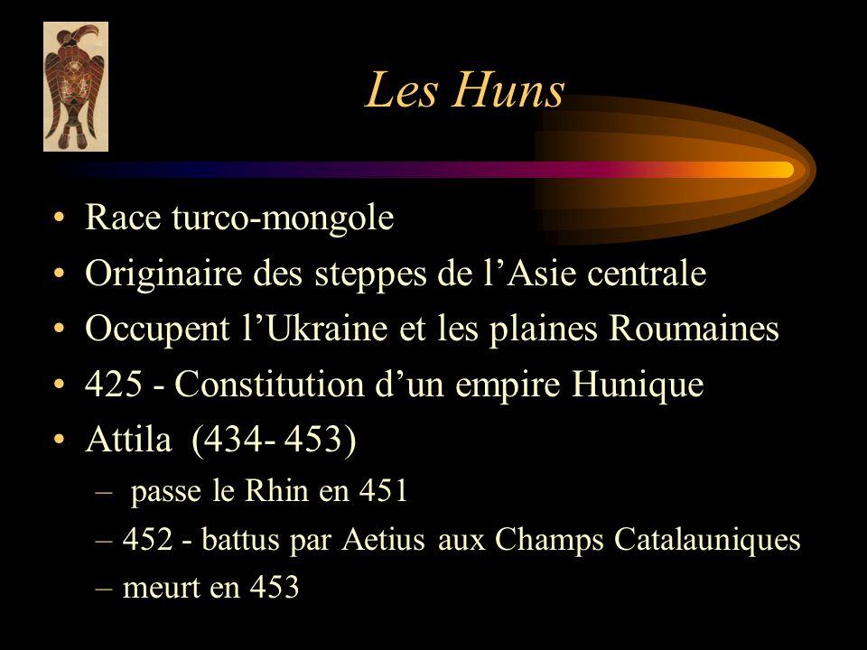 Les Huns Race turco-mongole Originaire des steppes de lAsie centrale Occupent lUkraine et les plaines Roumaines 425 - Constitution dun empire Hunique Attila (434- 453) – passe le Rhin en 451 –452 - battus par Aetius aux Champs Catalauniques –meurt en 453