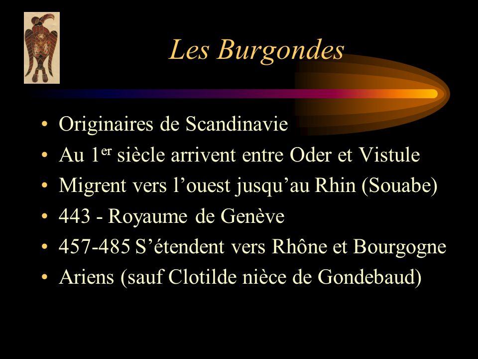 Les Burgondes Originaires de Scandinavie Au 1 er siècle arrivent entre Oder et Vistule Migrent vers louest jusquau Rhin (Souabe) 443 - Royaume de Genève 457-485 Sétendent vers Rhône et Bourgogne Ariens (sauf Clotilde nièce de Gondebaud)