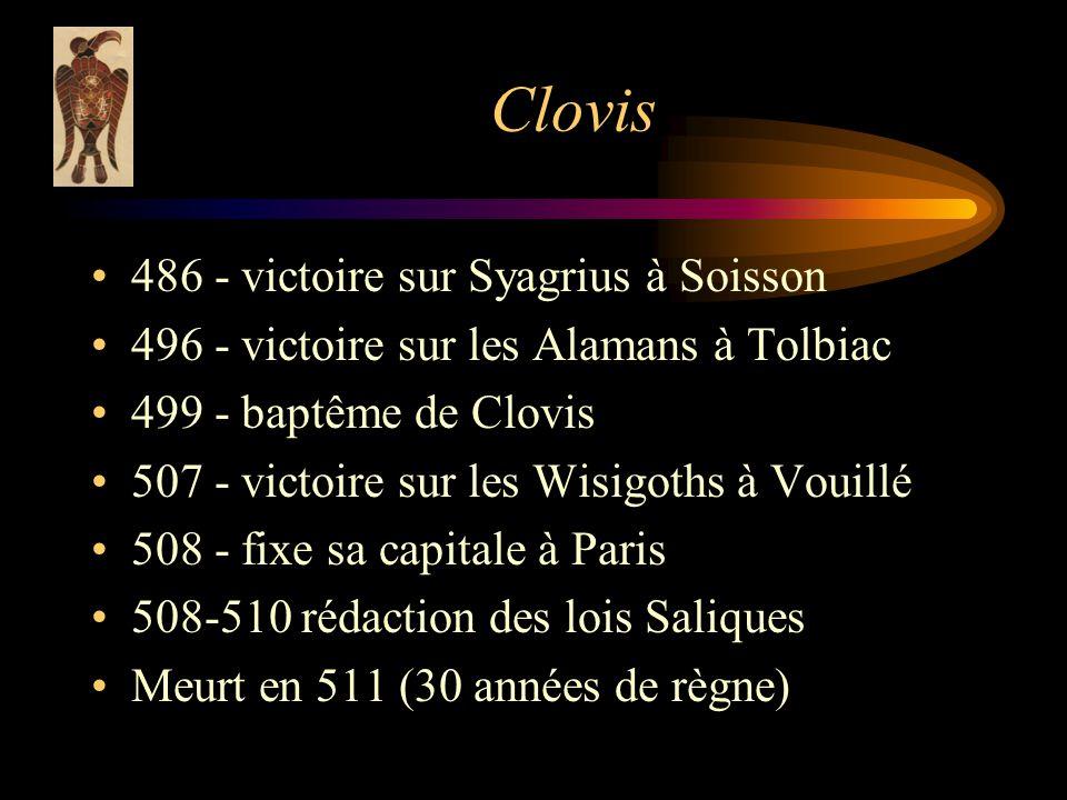 Clovis 486 - victoire sur Syagrius à Soisson 496 - victoire sur les Alamans à Tolbiac 499 - baptême de Clovis 507 - victoire sur les Wisigoths à Vouillé 508 - fixe sa capitale à Paris 508-510 rédaction des lois Saliques Meurt en 511 (30 années de règne)