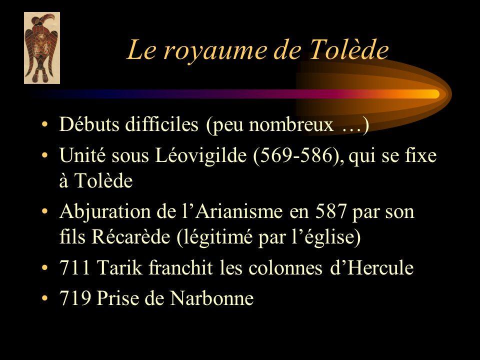 Le royaume de Tolède Débuts difficiles (peu nombreux …) Unité sous Léovigilde (569-586), qui se fixe à Tolède Abjuration de lArianisme en 587 par son fils Récarède (légitimé par léglise) 711 Tarik franchit les colonnes dHercule 719 Prise de Narbonne