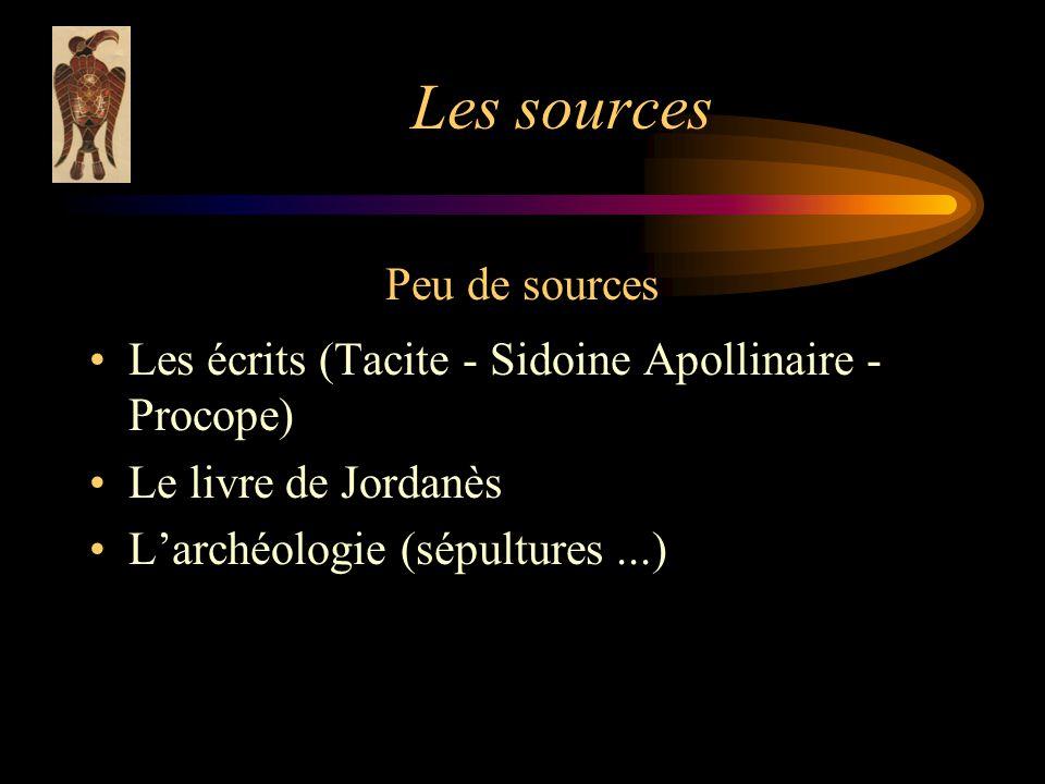 Les sources Peu de sources Les écrits (Tacite - Sidoine Apollinaire - Procope) Le livre de Jordanès Larchéologie (sépultures...)