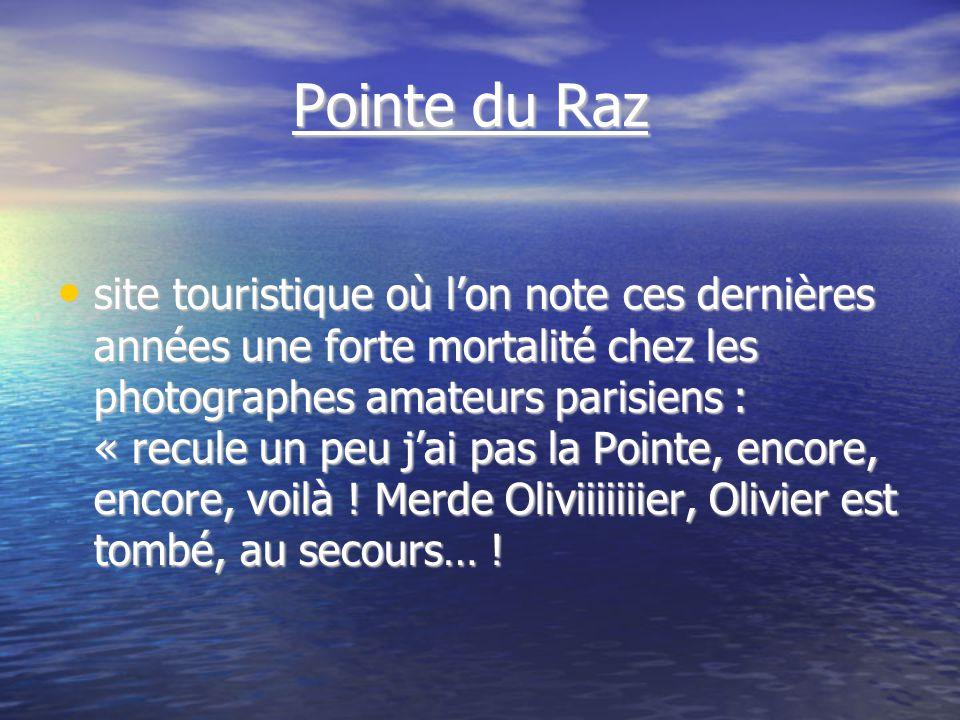 Pointe du Raz Pointe du Raz site touristique où lon note ces dernières années une forte mortalité chez les photographes amateurs parisiens : « recule un peu jai pas la Pointe, encore, encore, voilà .